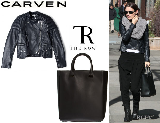 Rooney Mara's Carven Leather Biker Jacket And The Row 'Day Luxe' Tote