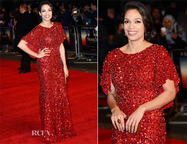 Rosario Dawson In Jenny Packham - 'Trance' London Premiere