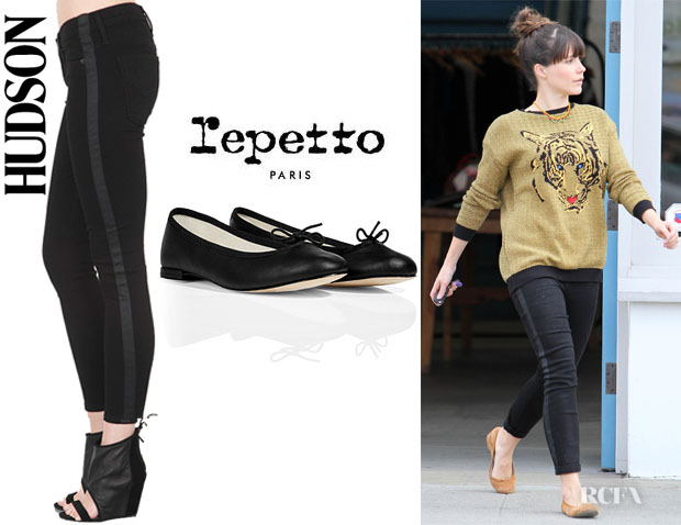 Sophia Bush's Hudson 'LouLou' Tux Jeans And Repetto 'BB' Leather Ballet Flats