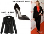 Stacy Keibler's Saint Laurent Glitter Crepe Wool Blazer And Narciso Rodriguez 'D'Orsay' Pumps