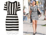 Tulisa Contostavlos' Topshop Textured Striped Dress