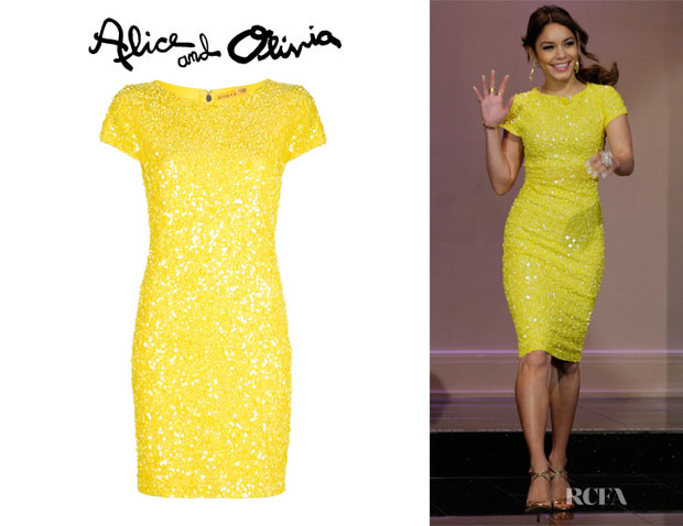 Vanessa Hudgens' Alice + Olivia 'Taryn' Beaded Fitted Dress