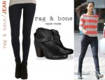 Zoe Saldana's Rag & Bone/JEAN Legging Jeans And Rag & Bone 'Harrow' Booties