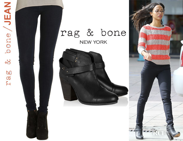 Zoe Saldana's Rag & BoneJEAN Legging Jeans And Rag & Bone 'Harrow' Booties