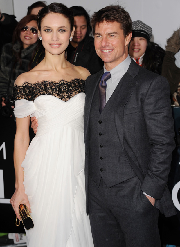 Olga Kurylenko in Marchesa and Tom Cruise in Armani