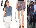 Alessandra Ambrosio's Siwy Denim 'Lana' Sleeveless Top And Isabel Marant 'Silea' Paisley Skirt