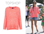 Alessandra Ambrosio's Topshop Knitted Fluro Weave Jumper