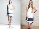 Amanda Seyfried's Nonoo Cristina Sheer-Stripe Faille Dress