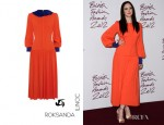 Andrea Riseborough's Roksanda Ilincic Elistir Stretch-Crepe Midi Dress
