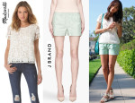 Ashley Madekwe In Madewell Lace Top & J Brand Lynn Shorts