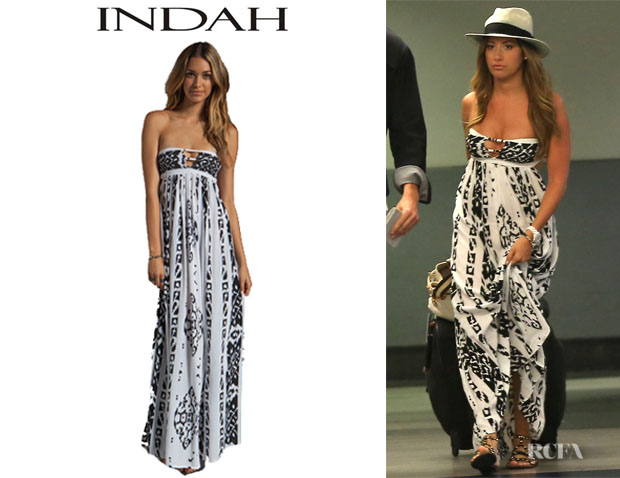Ashley Tisdale's Indah Flamingo Smocked Bandeau Maxi Dress
