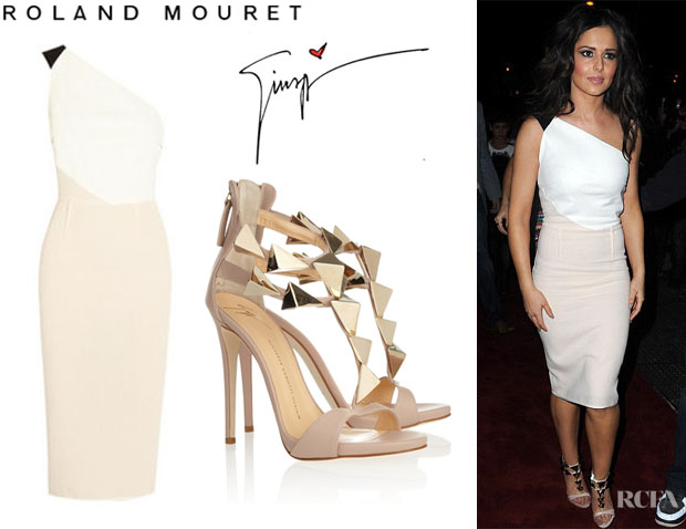 Cheryl Cole's Roland Mouret 'Belmont' Colour Block Dress And Giuseppe Zanotti Pyramid Studded T-Strap Sandals1