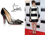 Chloe Moretz' Christian Louboutin Pivichic 100 Striped Patent-Leather and PVC Pumps