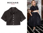 Diane Kruger's Rochas Shiny Silk Collared Crop Top