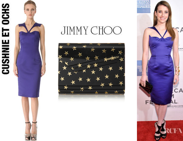 Emma Roberts' Cushnie et Ochs Silk Crepe Sleeveless Dress And Jimmy Choo 'Candy' Clutch