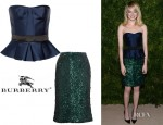 Emma Stone's Burberry Prorsum Strapless Peplum Top and Sequin Skirt