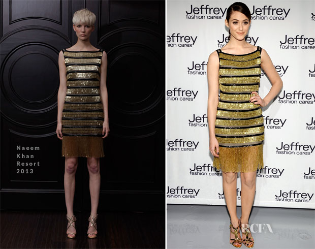 Emmy Rossum In Naeem Khan - Jeffrey Fashion Cares 10th Anniversary Celebration
