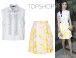 Emmy Rossum's Topshop Embroidered Shirt And Topshop Floral Pleated Skirt