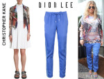 Fergie's Christopher Kane Printed Biker Jacket And Dion Lee Mesh Insert Trousers