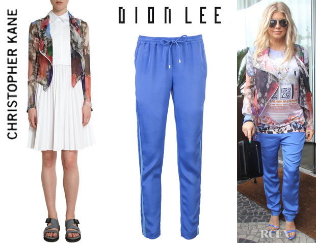 Fergie's Christopher Kane Printed Biker Jacket And Dion Lee Mesh Insert Trousers1