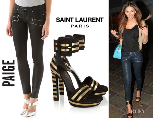 Georgia Salpa's Paige Denim 'Edgemont' Ultra Skinny Jeans And Saint Laurent 'Paloma' Platform Sandals