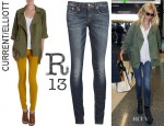 Gwyneth Paltrow's Current/Elliott 'The Infantry' Jacket And R13 Skinny Jeans