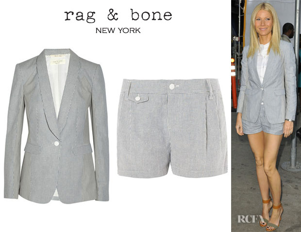 Gwyneth Paltrow's Rag & Bone 'Jefferson' Stripe Print Blazer And Rag & Bone 'Tennis' Stripe Print Shorts