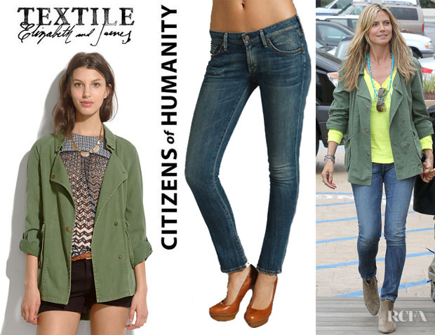 Heidi Klum's Textile Elizabeth And James 'Kelsey' Parka And Citizens Of Humanity Racer Low Rise Ultra Skinny Jeans