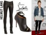 January Jones' Helmut Lang Stretch Leather Leggings And Christian Louboutin 'Diptic' Sandals