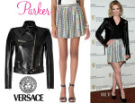 January Jones' Versace Biker Jacket & Parker Bri Skirt