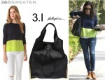Jennifer Garner's 360 Sweater 'Ryan' Cashmere Pullover And 3.1 Phillip Lim 'Scout' Drawstring Bag