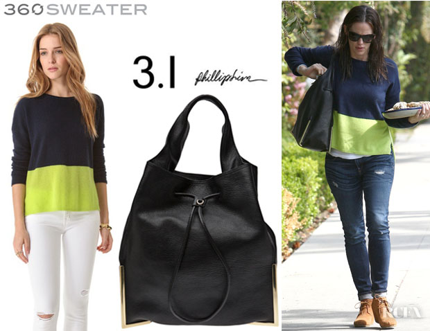 Jennifer Garner's 360 Sweater 'Ryan' Cashmere Pullover And 3