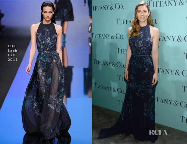 Jessica Biel In Elie Saab - Tiffany & Co Blue Book Ball