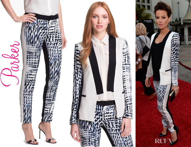 Kate Beckinsale's Parker 'Reef' Silk Blazer And Parker 'Parlor' Silk Pants