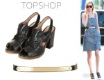 Kate Bosworth's Topshop Skinny Metal Bar Waist Belt And Topshop 'Generous' Leather Strappy Shoes