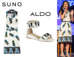 Katy Perry's Suno Cellphone Print Dress And Aldo 'Kasota' Sandals