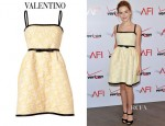 Kiernan Shipka's Valentino Yellow and White Belted Lace Dress