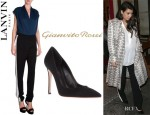 Kim Kardashian's Lanvin Side Stripe Sheer Pants And Gianvito Rossi Pointed Toe Pumps