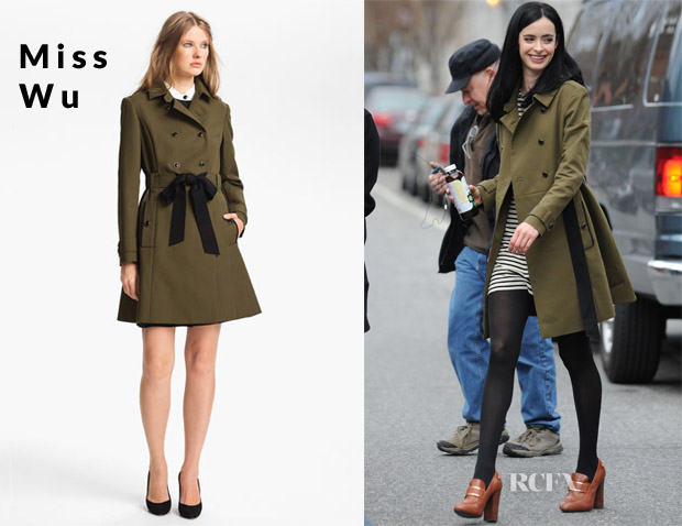 Krysten Ritter's Jason Wu Belted Cotton Trench Coat