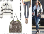 LeAnn Rimes' Each X Other Striped Leather Jacket, Citizens of Humanity 'Racer' Skinny Jeans And Stella McCartney 'Falabella' Python Print Tote