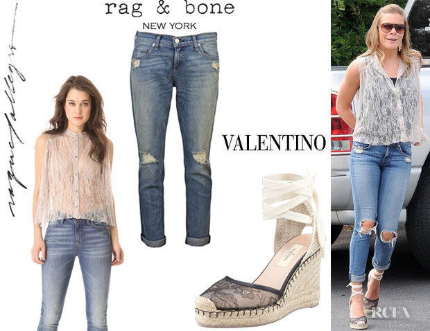 LeAnn Rimes' Raquel Allegra Shirred Lace Blouse, Rag & Bone 'The Dash' Jeans And Valentino Lace Covered Espadrille Wedges