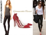 Lily Aldridge's Citizens of Humanity 'Rocket' Skinny Leatherette Jeans And Gianvito Rossi Pumps