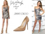 Lily Aldridge's Lily Aldridge for Velvet 'Erin' Dress And Jimmy Choo 'Anouk' Pumps