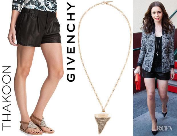 Lily Collins' Thakoon Leather Shorts And Givenchy Shark Tooth Necklace