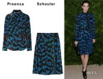 Liv Tyler's Proenza Schouler  Printed Stretch-Chiffon and Tulle Blouse and Skirt