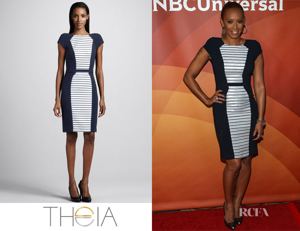 Mel B's Theia Short-Sleeve Striped Inset Dress