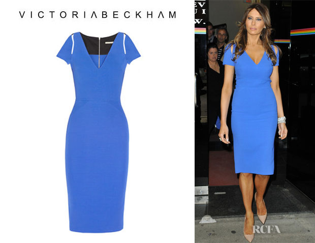 Melania Trump's Victoria Beckham Silk And Wool Blend Dress