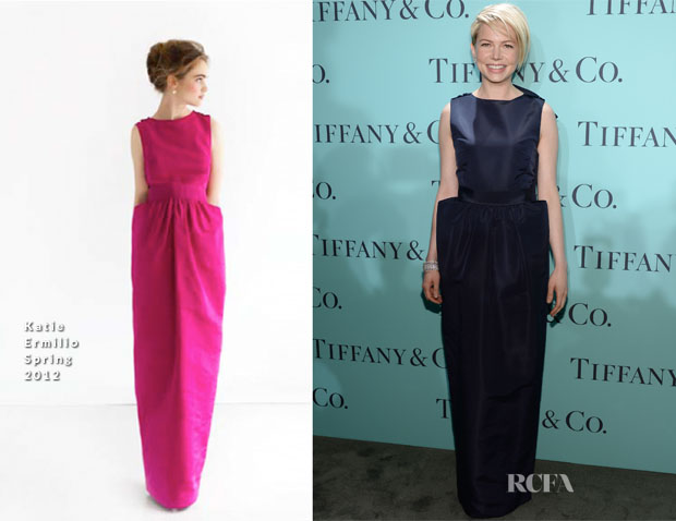 Michelle Williams In Katie Ermilio - Tiffany & Co Blue Book Ball