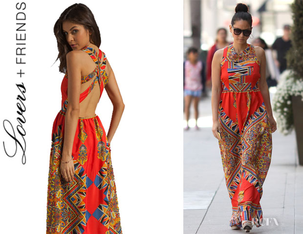 Olivia Munn's Lovers + Friends 'Kitty Cat' Maxi Scarf Dress