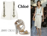 Pace Wu's Chloé Embellished Cropped Crepe Tank & Jimmy Choo Lance Sandals